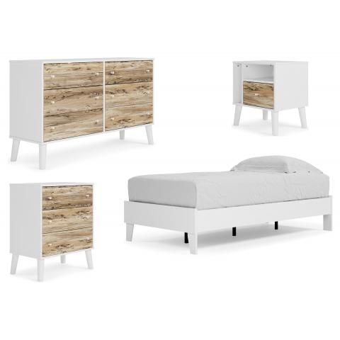 Piperton - 4pc Twin Panel Platform Bed Set