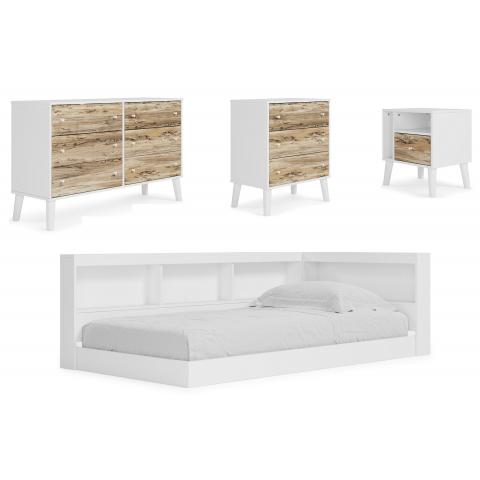 Piperton - 4pc Twin Bookcase Storage Bed Set