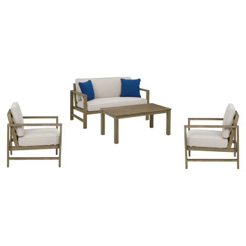 Fynnegan - 4pc Outdoor Loveseat + 2 Chairs + Table