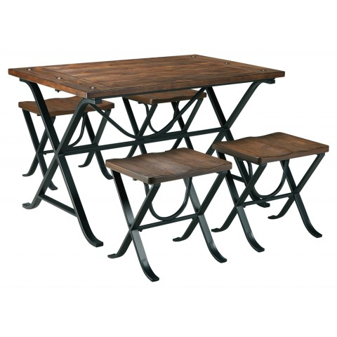 Freimore - 5pc Rectangular Dining Room Table Set (Table + 4 Stools)