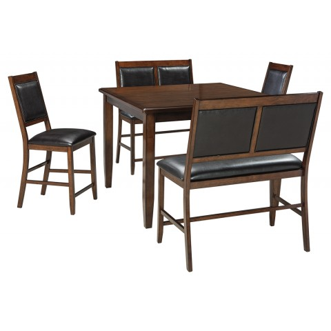Meredy - 5pc Square Counter Table Set (Table + 2 Barstools + 2 Benches)