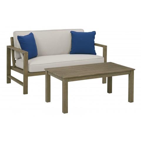 Fynnegan - 2pc Outdoor Loveseat + Coffee Table Set