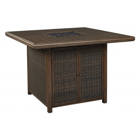 Paradise Trail - Outdoor Square Bar Table with Fire Pit